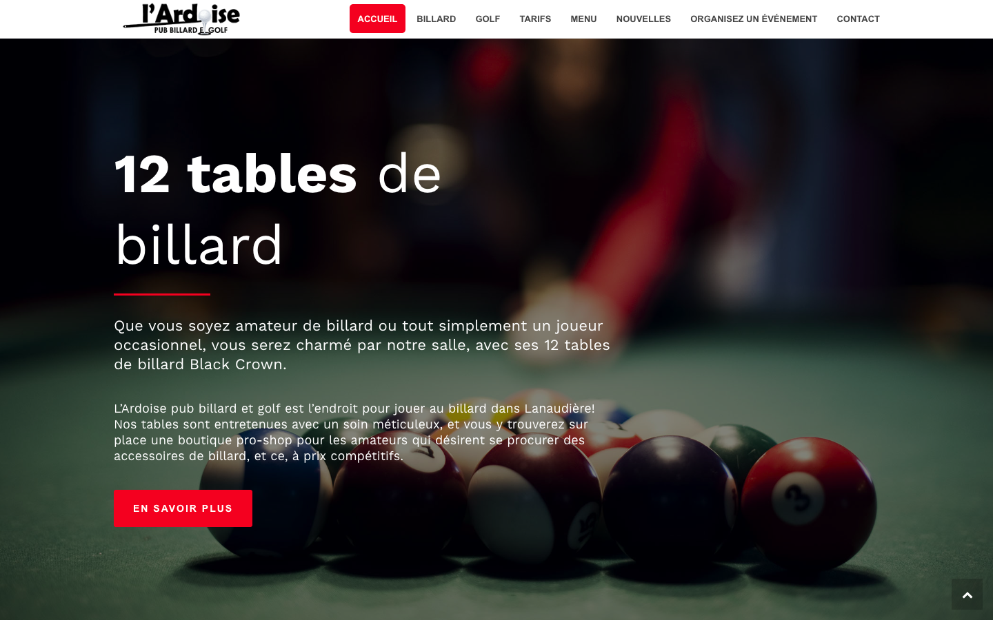 L'Ardoise pub billard et golf par 3leadership Marketing web pour PME 5