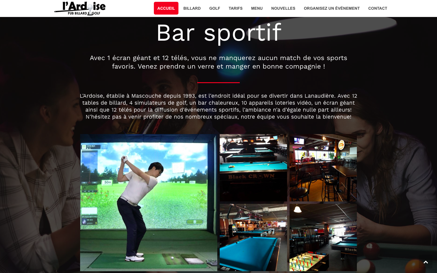L'Ardoise pub billard et golf par 3leadership Marketing web pour PME 3